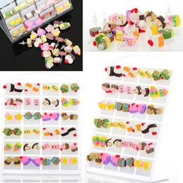 Wholesale Cake Jewelry Wholesale - Ear Jewelry Lot Mixed Cake Polymer Clay Stud Earrings with Plastic Jewelry Display Fashion Costume Jewelry [JE03022*2]