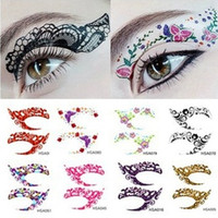 Wholesale party eyes tattoo stickers resale online - Crazy Temporary Tattoo Stickers girls party Instant Eye Shadow Sticker Colourful Eye rock