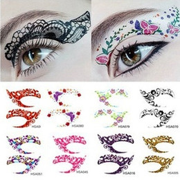 Wholesale Temporary Tattoo Neck - Crazy Temporary Tattoo Stickers girls party Instant Eye Shadow Sticker Colourful Eye rock 5618