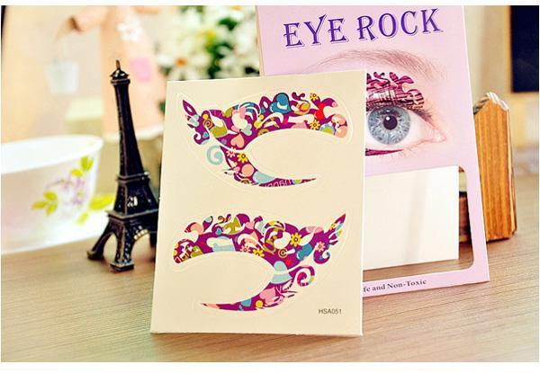 Pegatinas de tatuaje temporal locas fiesta de las chicas Etiqueta de sombra de ojos instantánea Colorido roca de ojos 5618