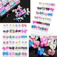 Wholesale Polymer Clay Ear Studs - 48pairs lot Fashion Earring Polymer Clay Butterfly Ear Stud Multicolor Stud Earring for Children Girls [JE03016*2]