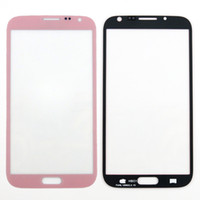 Para Samsung Galaxy Note II 2 N7100 Lente de vidro exterior Ecrã frontal Digitizer Touch Screen Cover Pink