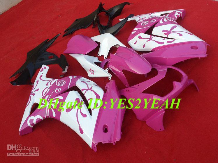 Kit de cuerpo de carenado de inyección para KAWASAKI Ninja ZX250R ZX 250R 2008 2012 EX250 08 09 10 11 12 Carenados de carenado blanco rosa KH68
