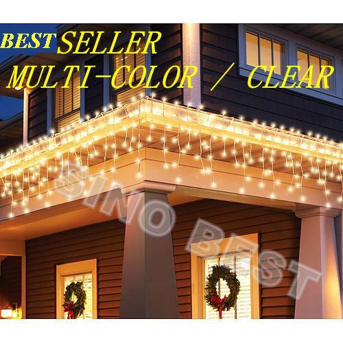 outdoor 110 led icicle lights warm white christmas holiday lighting wedding party new years decorations for garden home gift lights string brown string