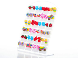 Wholesale Stud Earrings Mixed Design - Polymer Clay Hand Craft Mixed Designs Stud Earrings 48pair lot Candy Color Children's Earring Jewelry [JE03024*2]