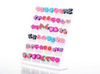 Wholesale Kid Earrings Wholesale - Fashion Jewelry Cute Polymer Clay Stud Earrings Glue Needle Not Allergic Mix Design Girl Kid Children Gift [JE03025*2]