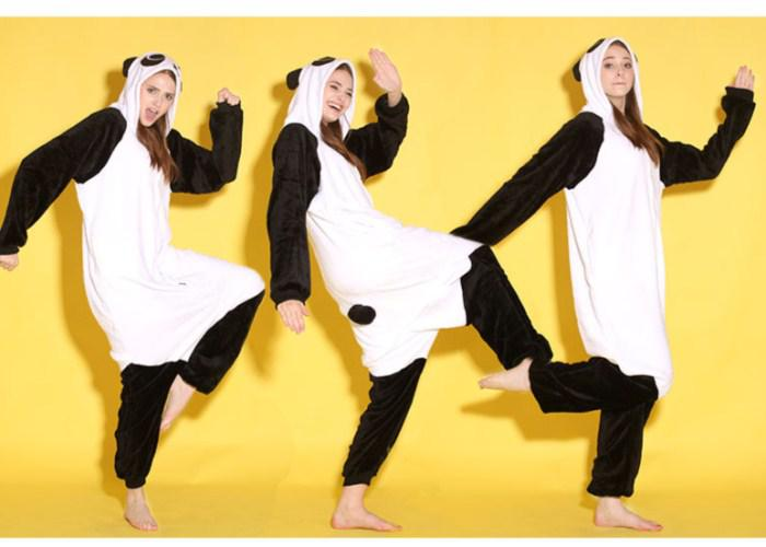 Tecknade djur panda unisex vuxna onesies onesie pyjamas kigurumi jumpsuit hoodies sovkläder för vuxna välkomna grossist order