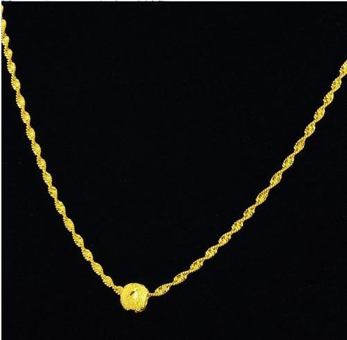 Preço de atacado, popular OL pingente de colar para as mulheres, talão banhado a ouro cadeia onda colar 24k ouro cheio