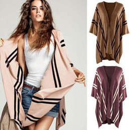 Ladies Cape Cardigan Canada - 2013 New arrivel Striped sweater,top quality Shawl cloak,Poncho Vest lady cape cashmere blends leisure Cardigan ,Free shipping