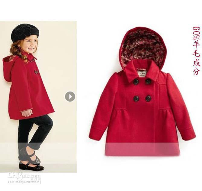 Children Outwear Duffle Coat Girls Cute Red Casual Coats Wool Coat ...