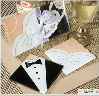 New Arrival Bride Gown & Groom Tuxedo Glass Coasters cup mat for Wedding Favors Set of 2
