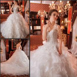 Wholesale Samples Neck Beads - 2016 Fashion Sweetheart Neck Wedding Dresses Crystals Ruffles Beaded Elegant Real Sample Organza Bridal Wedding Gowns