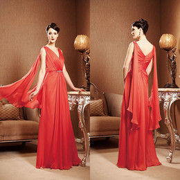 Wholesale Mother Bride Retro - Retro Free shipping V neck Sheath Full length chiffon Low back Red long Prom gown Formal evening dress Plus size Mother of the bride dresses