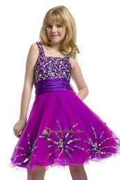Wholesale Diamond Evening Gowns - Spaghetti sequins diamond satin soft tulle knee length party formal evening flower girls pageant dresses ball gowns perfect angels pre-teen