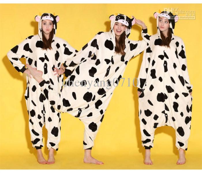 Cartoon Tier Kuh Erwachsene Onesies Onesie Pyjamas Kigurumi Jumpsuit Hoodies Nachtwäsche für Erwachsene Willkommen Großhandelsauftrag