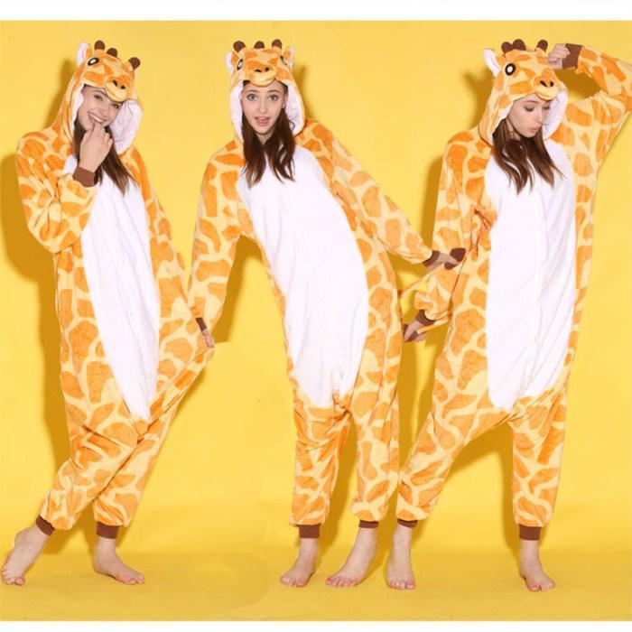 Unisex Cartoon Tier Giraffe Erwachsene Onesies Onesie Pyjamas Kigurumi Overall Hoodies Nachtwäsche für Erwachsene Willkommen Großhandel