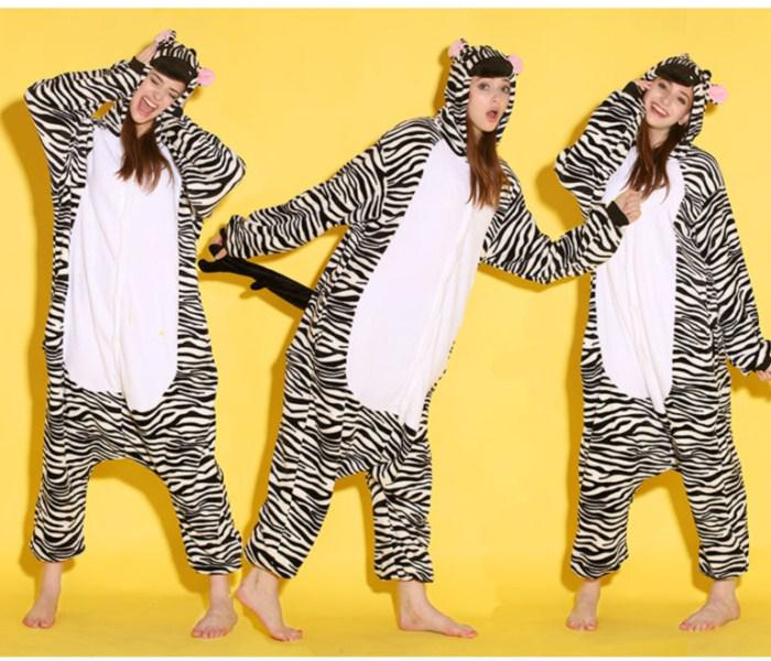 fa4dc8a22d04 Cartoon Animal Zebra Adult Onesies Onesie Pajamas Kigurumi Jumpsuit ...