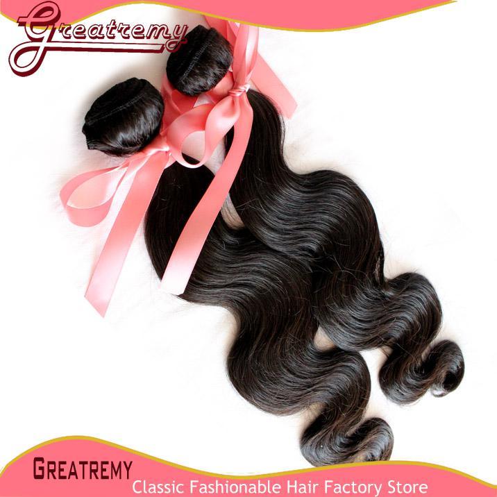 Greatremy indiano 100% não transformados cabelo humano trama do Weave da onda do corpo Natural Cor Dyeable Virgens trama do cabelo Extensões 8-30inch /