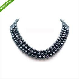 Wholesale Necklace Rows White Pearl - Fine Pearl Jewelry 3 Row 8-9mm AAA NATURAL BLACK SOUTH PEARL NECKLACE 14K 17 18 19inches