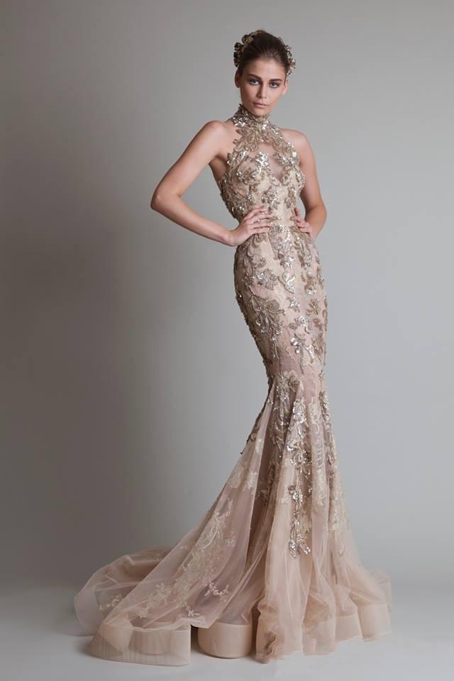 Sexy ver a través de botón de organza Volver sirena / trompeta Elie Saab noche / formal / vestidos de fiesta con cuello alto y lujosas apliques de plata