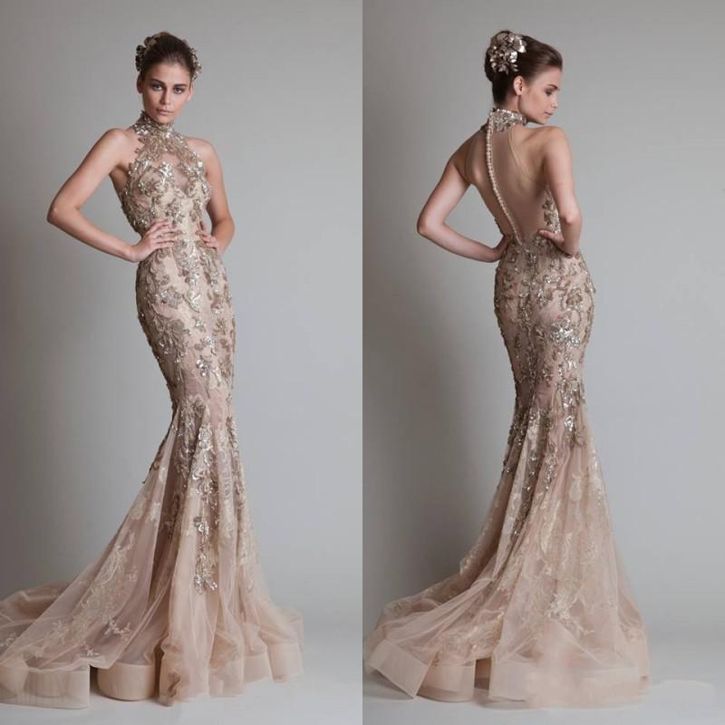 Sexy Vedere attraverso Organza Button Back Sirena / Tromba Elie Saab Evening / Formal / Prom Dresses con collo alto e lussuosi Appliques argento