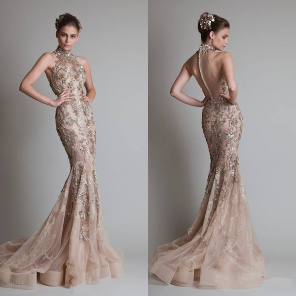 top popular Sexy See Through Organza Button Back Mermaid  Trumpet Elie Saab Evening Formal Prom Dresses With High Neck And Luxurious Silver Appliques 2020