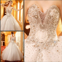 Wholesale High End Make Up - High end sweetheart floor length A-Line sleeveless garden wedding dresses sequins rhinestones beading organza beaded bridal wedding gowns