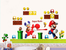 Wholesale Live Mario - 5pieces LARGE Super Mario Bro Toy Removabale Wall Stickers Decal Kids Vinyl