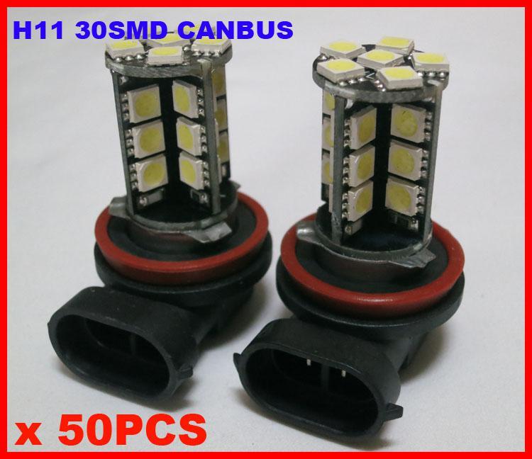 100x H11 30SMD 5050 Canbus Built-in LED 12V Car Driving Fog Lamp Head Light 6K Xenon White Error Free Canceler Resistor Bright Best Quality