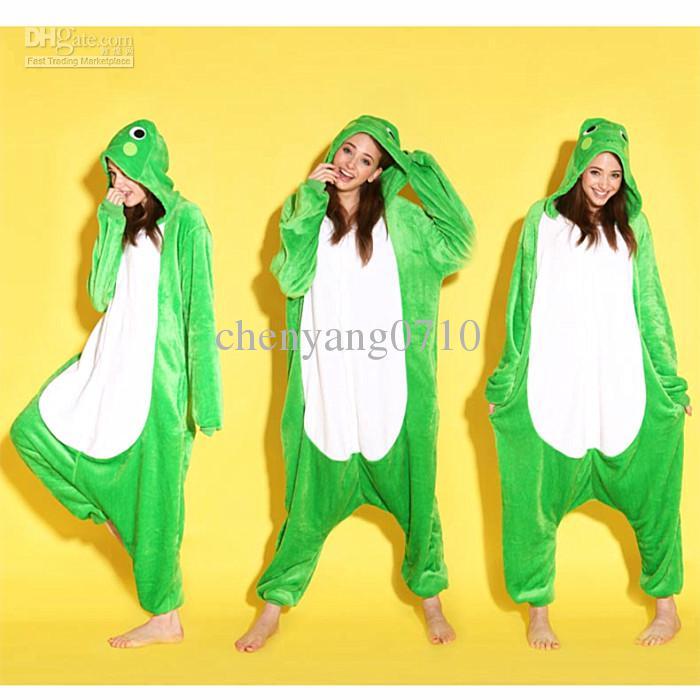 Animal Love Grenouille Unisexe Adulte Flanelle Onesies Pyjamas Kigurumi Combinaison Hoodies Vêtements de nuit Cosplay Pour Adultes Bienvenue En Gros Commande