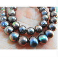 "Wholesale Natural Tahitian Pearls 14k - Fine Pearl Jewelry Natural 18""8-9MM TAHITIAN NATURAL BLACK RED PEARL NECKLACE 14K"