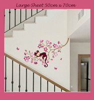 Wholesale Happy Tree Sticker - 2pieces Happy Monkey in Pink Tree Girls Clear Vinyl Kids Child Nursery Wall Stickers