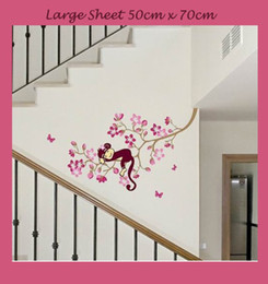 Wholesale Happy Decal - 2pieces Happy Monkey in Pink Tree Girls Clear Vinyl Kids Child Nursery Wall Stickers