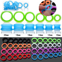 Wholesale Flesh Silicone Plugs - 12pcs Thin Silicone Flexible Hollow Ear Skin Flesh Tunnels Ear Plugs Gauges Earlets Body Jewellery [BC97(12)*1]
