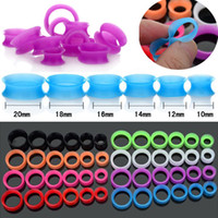 Wholesale Silicone Ear Stretchers - Fashion 84Pcs Flexible Silicone Hollow Saddle Ear Stretchers Flesh Ear Tunnel Unisex Body Jewellery [BC97(12)*7]