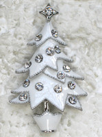 Wholesale Costume Fashion Christmas Jewelry - Wholesale C423 Clear Crystal Rhinestone Enameling Christmas tree Pin Brooch Christmas gifts Fashion costume jewelry gift