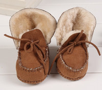 Wholesale Crochet Snow Boots - Big Discount Winter Baby Walking Shoes Infant First Walking Leather Boots Children's Boot Baby 100% Handmade Shoes 0-1T,3Colors for choose