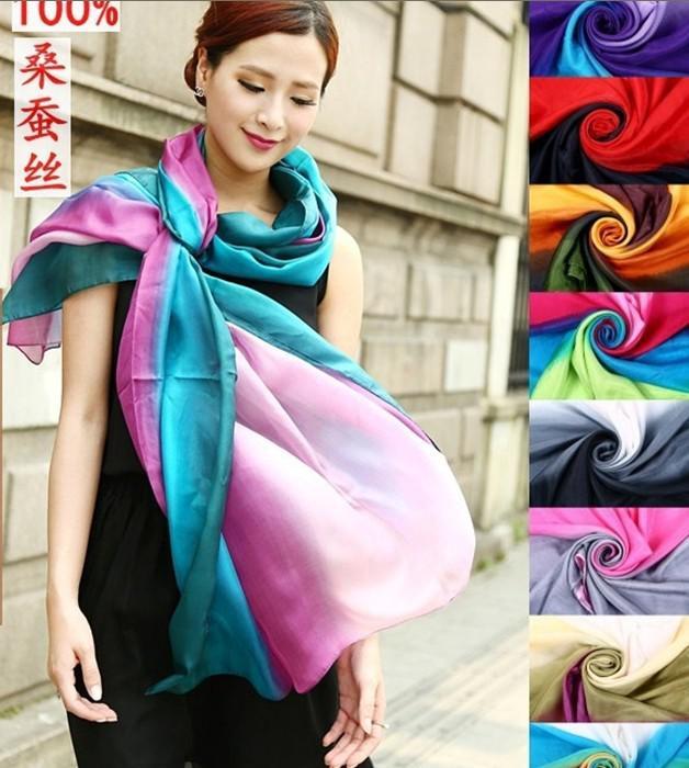 All matched women's shaded 100% silk Satin Sarongs Hijabs Bandanas Scarf wrap shawl poncho LARGE 180*110cm mixed color #3350
