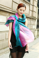 All matched women's shaded 100% silk Satin Sarongs Hijabs Bandanas Scarf wrap shawl poncho LARGE 180*110cm mixed color 9pcs lot #3350