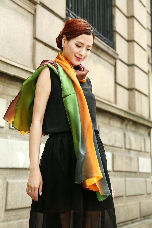 Alle zusammengestellten Frauen schattiert 100% Seide Satin Sarongs Hijabs Bandanas Schal Wrap Schal Poncho GROßE 180 * 110cm Mischfarbe / # 3350