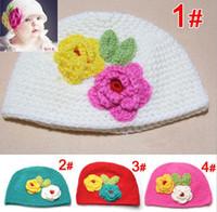Wholesale Wholesale Baby Wool Hats - Handmade Baby Hat Crochet Hat Kids Wool Knitted Double Flower Cap Children Cotton Beanie Infant Toddler Hats Flower Earflap 4colors 5pcs lot