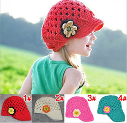 Wholesale Knitted Hat Earflap - Novelty Handmade Baby Hat Crochet Flower Hat Kids Wool Knitted Cap Children Flower Beanie Accessories Infant Toddler Princess Hats Earflap