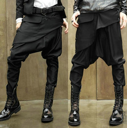 Wholesale Taper Pants Man - NWT Men Women Unisex Korean Style Casual Hip Hop Dance Low Drop Crotch Gothic Emo Punk Goth Harem Baggy Tapered Skinny Pants Slacks Trousers