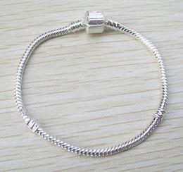 Wholesale European Brass Bracelet - Brand new 16-21cm Silver plated snake chain for European bracelet fashion jewelry DIY