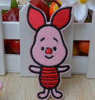 Wholesale Iron Patch Pig - Wholesales~10 Pieces Cartoon Winnie The Pooh's Friend Pink Pig (4.5 x 9cm) Kids Patch Embroidered Iron On Applique Patch (ALG)