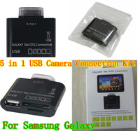 "Wholesale Tablets Connection Kit - 5 in 1 USB Camera OTG Connection Kit for Samsung Galaxy Tab 10.1 & 7"" Tablet P7500 P5100 P6800 P3100 Card Reader"