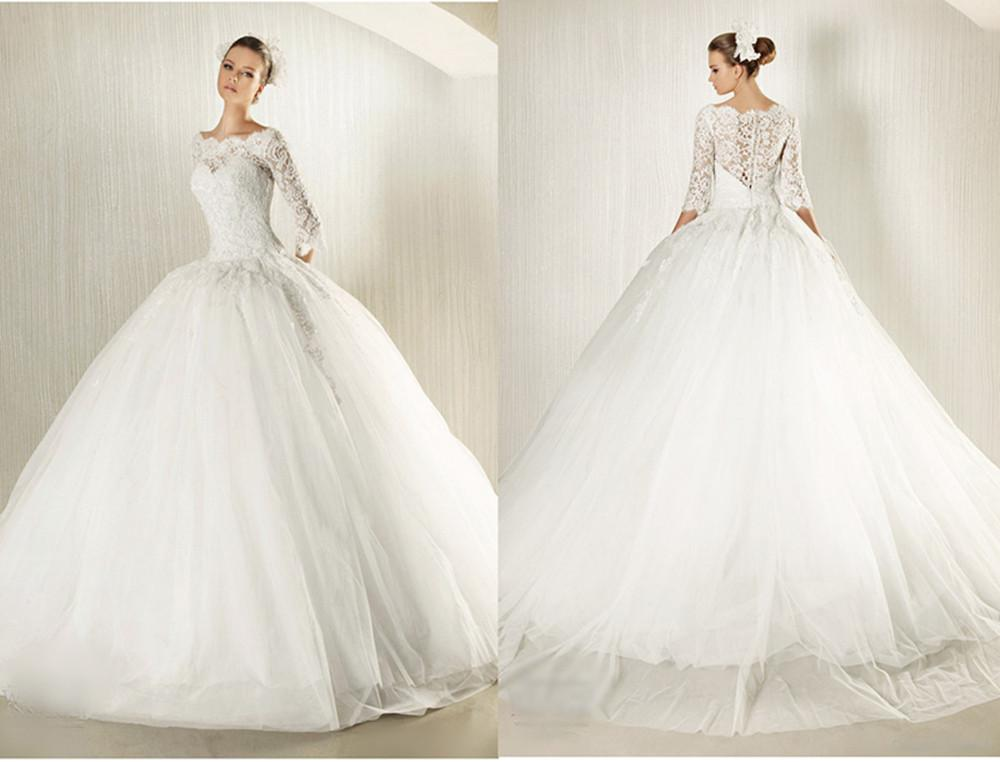 Huge Wedding Ball Gowns: Discount New Modest Long Lace Sleeves Ball Gown Wedding