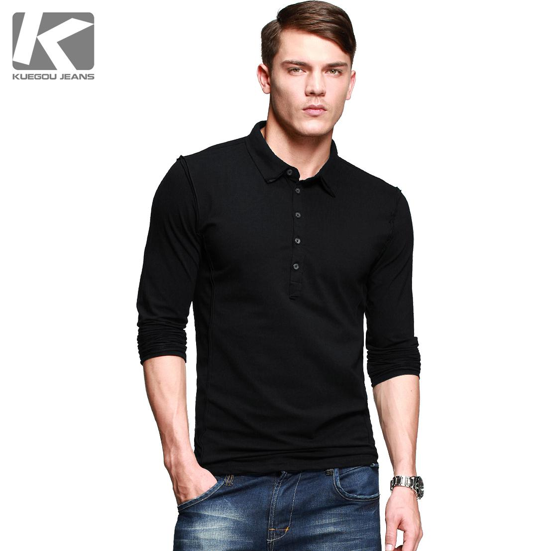 Kuegou Men Long Sleeve T Shirt Lapel Models Fall 2013 European And ...