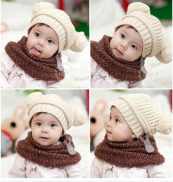 Wholesale Earflap Crochet Ball Baby Hat - Cute Baby Hat Crochet Hat Kids Knitted Wool Cap Children Beanie Accessories Infant Double Ball Hats Caps Handmade Earflap 5pcs lot MZ035