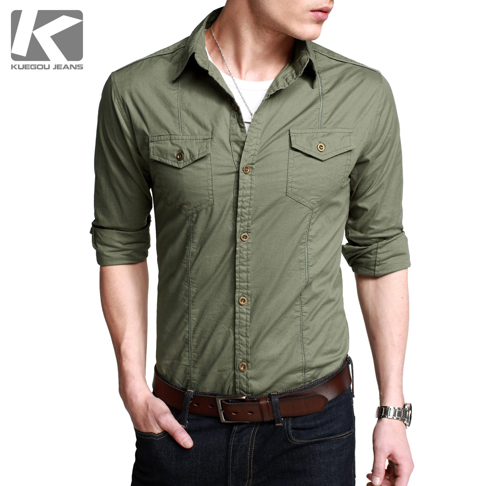2017 Cool Clothing Purchase Rugged Handsome Army Long Sleeve Shirt ...